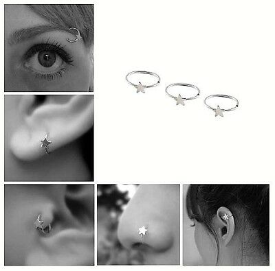Silver Tinny Star Nose Ear Ring Cartilage Tragus Septum Lip Eyebrow Hoop Stud