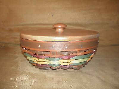 Longaberger 2013 Autumn Roads Oval Booking Basket Set with Lid