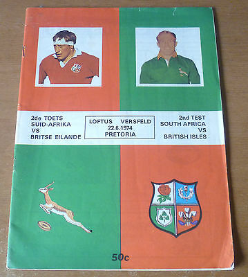 1974 - South Africa v British Lions, 2nd Test Match Programme & Rare Team Sheet.
