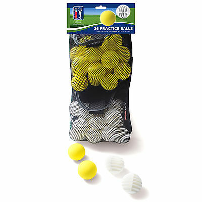 PGA Tour 36 Practice Golf Balls - Foam & Slotted - Use With Putting Mat / Net