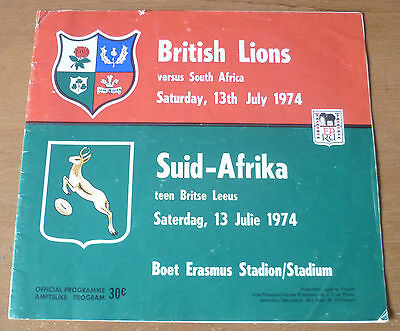 1974 - South Africa v British Lions, 3rd Test Match Programme.