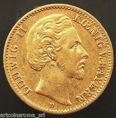 Germania Baviera Ludwig Ii 10 Mark 1875 D Qspl (Id 52446)