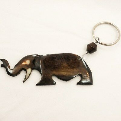 African Kenya Bovine Cow Bone Keychain Keyring Key Holder Elephant 655-56