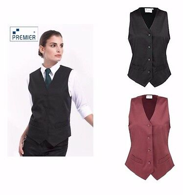 Premier Womens Waistcoat. Black/Burgundy, Polycotton,  4 buttons, watch pockets