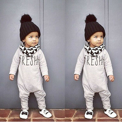 Newborn Infant Baby Boys Girls Warm Bodysuit Romper Jumpsuit Outfits Clothes