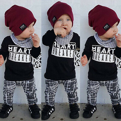 2PCS Toddler Baby Boy Kids Clothes Set Tops Tshirt+Pants Oufits Tracksuit UK