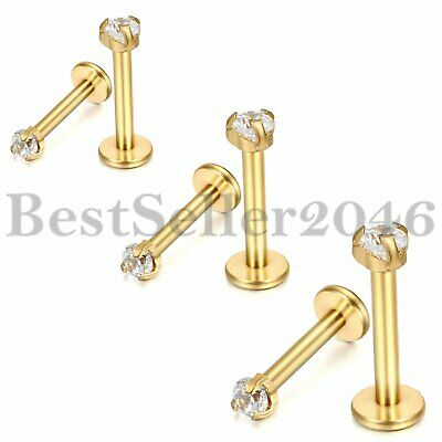 Stainless Steel Barbell Ear Cartilage Tragus Helix Stud Earrings Body Piercing