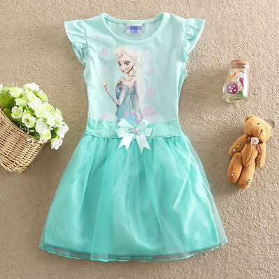 Girl Kids Frozen Princess Queen Elsa Party Cosplay Costume Fancy Dress Long#