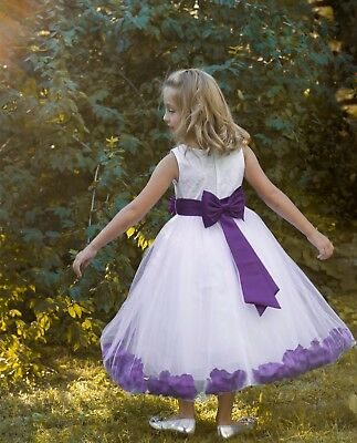 Ivory Wedding Pageant Floral Lace Bodice Rose Petal Tulle Flower Girl Dress 165s