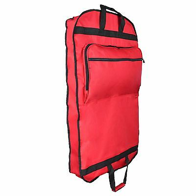 """39"""" Business Garment Bag Cover Suits Dresses Clothing Foldable Pockets Red"""