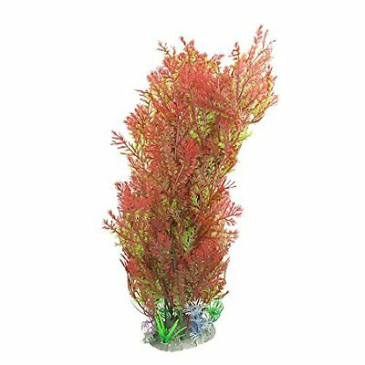Sourcingmap Ceramic Base Aquarium Plants Decor, 14-Inch, Red/Green