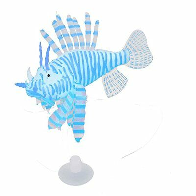 Sourcingmap Silicone Simulated Artificial Lionfish Aquarium Ornament, Blue