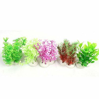 Sourcingmap Aquarium Manmade Grass/Plant Decoration, 4.3-Inch, 5-Piece