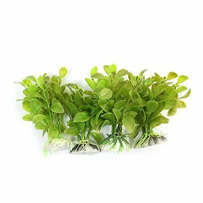 Sourcingmap Plastic Fish Tank Plants Grass Decoration, 3.5-Inch, Green, 4-Piece
