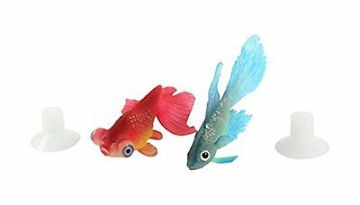 Sourcingmap Aquarium Suction Cup Simulated Glowing Goldfish Decor, Red/Blue, 2-P