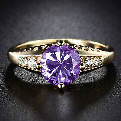 Vintage Amethyst Crystal Purple Sapphire 18k Gold Filled Lady Party Wedding Ring