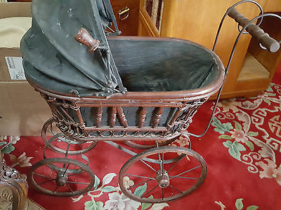 ANTIQUE BABY BUGGY STROLLER CARRIAGE Black & Brown