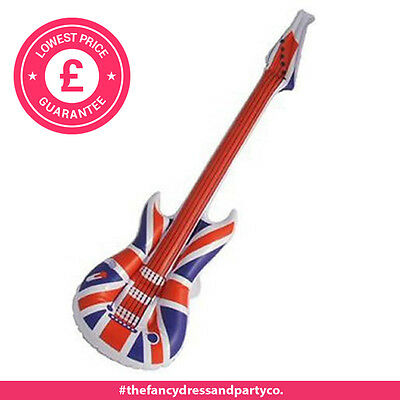 x1 Union Jack Inflatable Guitar Kids Party Fun Blow Up Toy GB 106CM