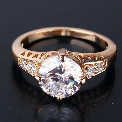 Vintage Clear Sapphire Diamond Round Cut 18k Gold Filled Party Banquet Rings NEW