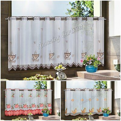 """Ready Made Voile Cafe Net Curtain Amazing Designs width 59"""" drop 24"""", 150 x 60cm"""