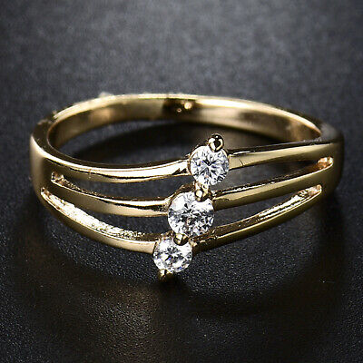 Slim Special Design 18k Gold Filled w/ Clear Mini Sapphire Gems Women Lady Rings