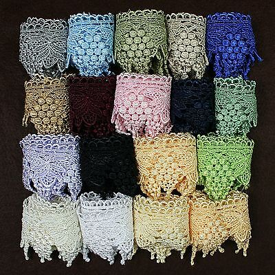 """2.75"""" Black Bronze Green Ivory Gray Pink White Venice Guipure Lace Trim By Yard"""