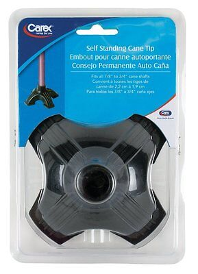 CANE TIP Self Standing Quad Base Support fits 7/8 to 3/4 cane shaft CAREX Black