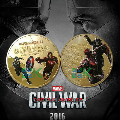 1 X Gold Plated Coin Medal Captain America + Ironman Civil War Marvel Avengers