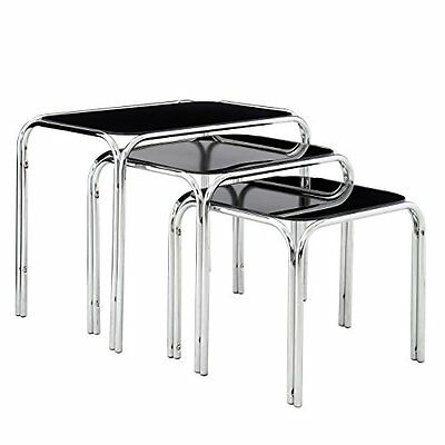 Premier Housewares Nest of Tables with Black Glass Top and Chrome Legs - 45.5 x