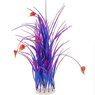 "Fish Tank 16.5"" High Plastic Plant Blue Purple w Ceramic Base"