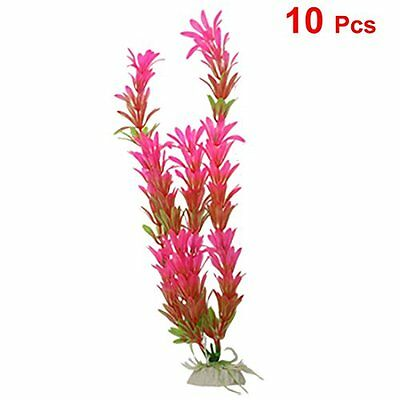 "sourcingmap Fish Tank 11"" Height Artificial Hot Pink Green Plants Decoration 10"
