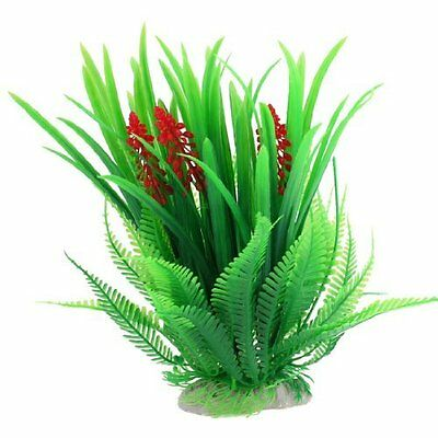"9"" Height Green Simulation Underwater Plant Ornament for Fishtank w Red Flower"