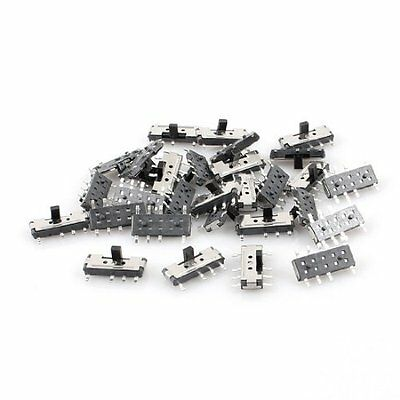 30 Pcs On/Off/On 8 Pin DPDT 2P2T Vertical Micro SMD SMT Slide Switch