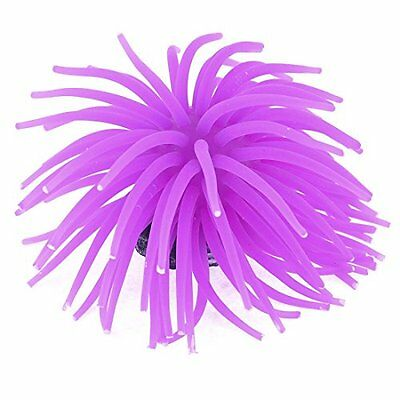 Sourcingmap Concrete Base Silicone Aquarium Coral Anemone Plant Decor, Purple