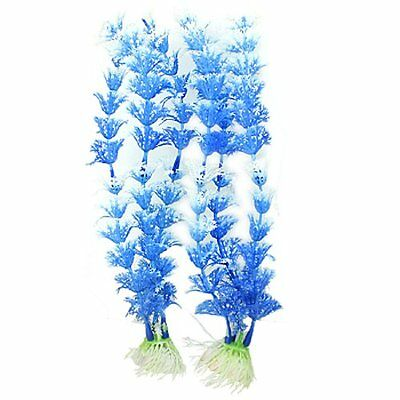 10 Pcs Blue White Plastic Aquascaping Plants Grass Decor for Fish Tank