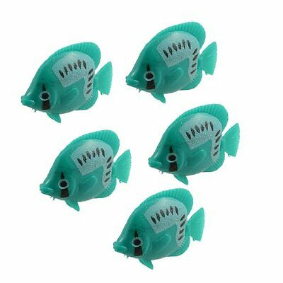 sourcingmap Aquarium Ornament Swing Tail Tropical Fish, 5 Pieces, Green