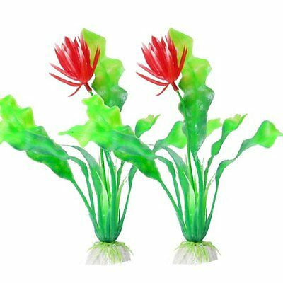 Sourcingmap Plastic Flower Aquarium Plant, 7.9-inch, Pack of 2, Red/ Green