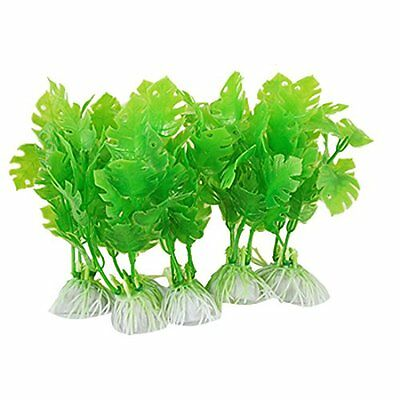 sourcingmap Plastic Aquarium Ornament Plant Ornament, 4.7-inch, 5 Pieces, Green