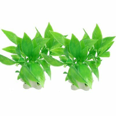 sourcingmap Plastic Aquarium Artificial Plant, 3.5-inch, 2 Pieces, Green