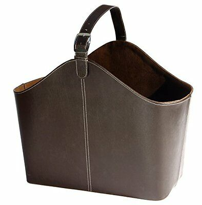 Osco Faux Leather Magazine Basket with Strap - Brown