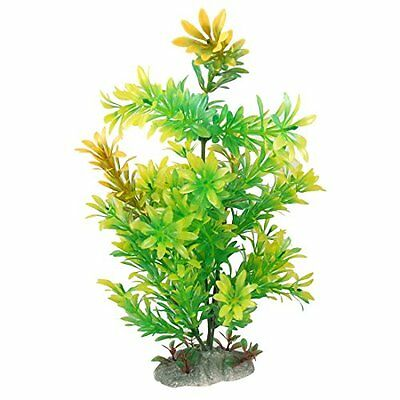 Sourcingmap Plastic Fish Tank Plant Grass Decoration, 11-Inch, Yellow/Green