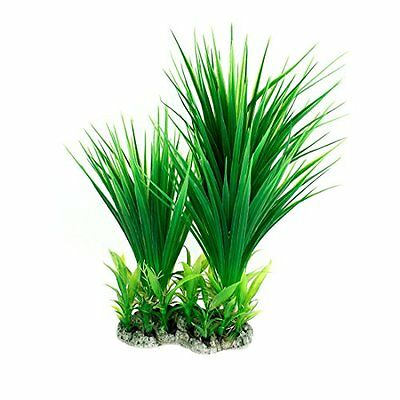 Sourcingmap Plastic Fish Tank Manmade Grass Plant Decor, 10.6-Inch, Green