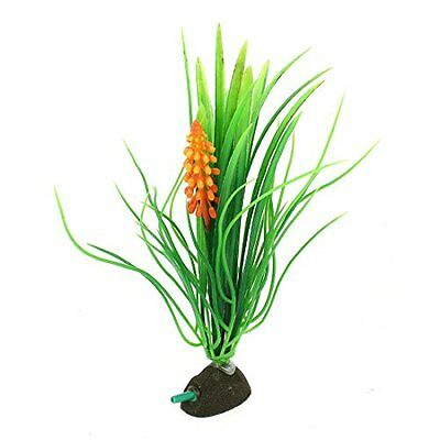Sourcingmap Plastic Aquarium Air Stone Base Grass Plant, 24 cm High, Orange/ Gre