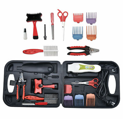 PET GROOMING KIT ELECTRIC CLIPPER TRIMMER 0.8-13mm COMB ACCESSORIES CASE DOG CAT