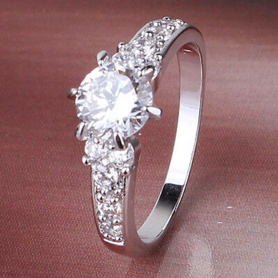 Stunning Princess's Crown Design Paved Clear Sapphire Crystals Lady Party Rings