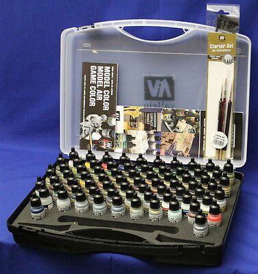Model Air Acrylic Paint Set by Vallejo 72 Color Colours 3 Brushes 71170