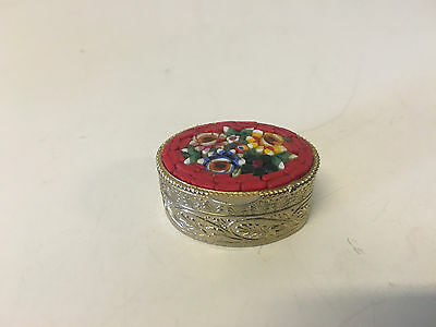 Small Brass or Metal Pill Snuff Box w/ Mosaic Floral Decoration Possibly Vintage