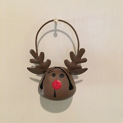 Metal Hand Painted Figural Rudolph Reindeer Bell Christmas Ornament