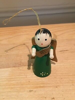 Vintage Wooden Angel Christmas Ornament