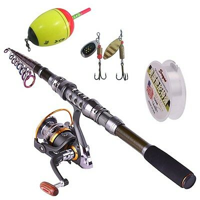Portable Fishing Rod and Reel Combos Fishing Tackle Line Lure Sets for Fishing